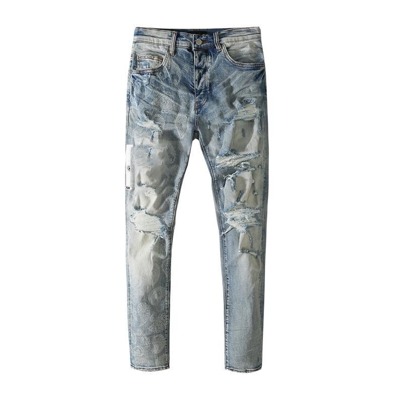 American Famous Brand AMR Letter Print Vintage Ripped Man Jeans Traf Streetwear Men Trousers Men's Pants 2021 Jeans For Men