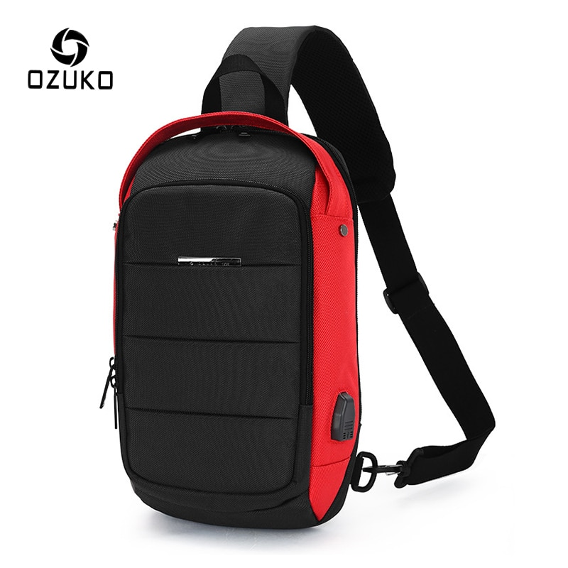 OZUKO USB Charge Chest Pack for Men Waterproof Crossbody Bags Male Casual Shoulder Bag Large Capacity Messenger