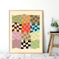 colorful abstract wavy lines pattern canvas paintings geometric poster and print wall art pictures for living room home decor