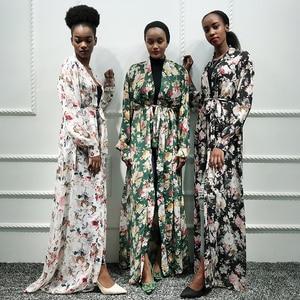 Siskakia Chiffon Printing Abaya Kimono Kaftan Dubai Muslim Open Abaya White Floral African Turkish Islam Clothing Saudi Arab Eid