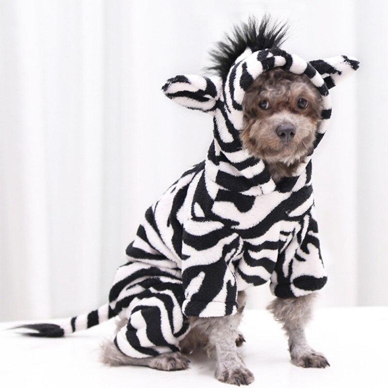 Disfraz divertido de Mascota, perro, gato, Halloween, cebra, blanco y negro, diseño de imagen, disfraces de Cosplay, ropa cambiante de franela de cuatro patas