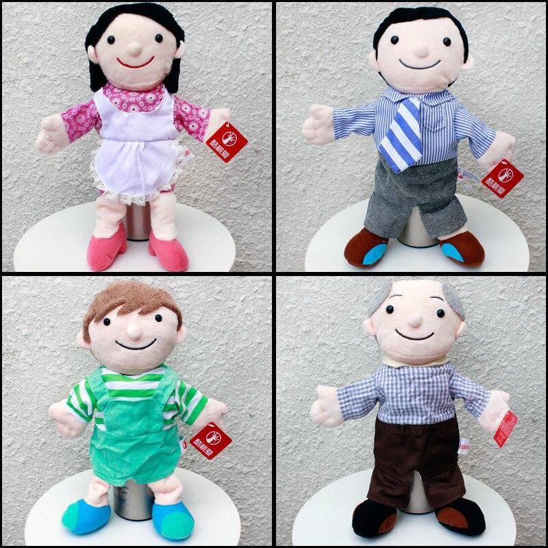Candice guo brinquedo de pelúcia boneca de pelúcia dos desenhos animados membro da família vestido pano pai mãe mão fantoche dormir amigo história 1pc
