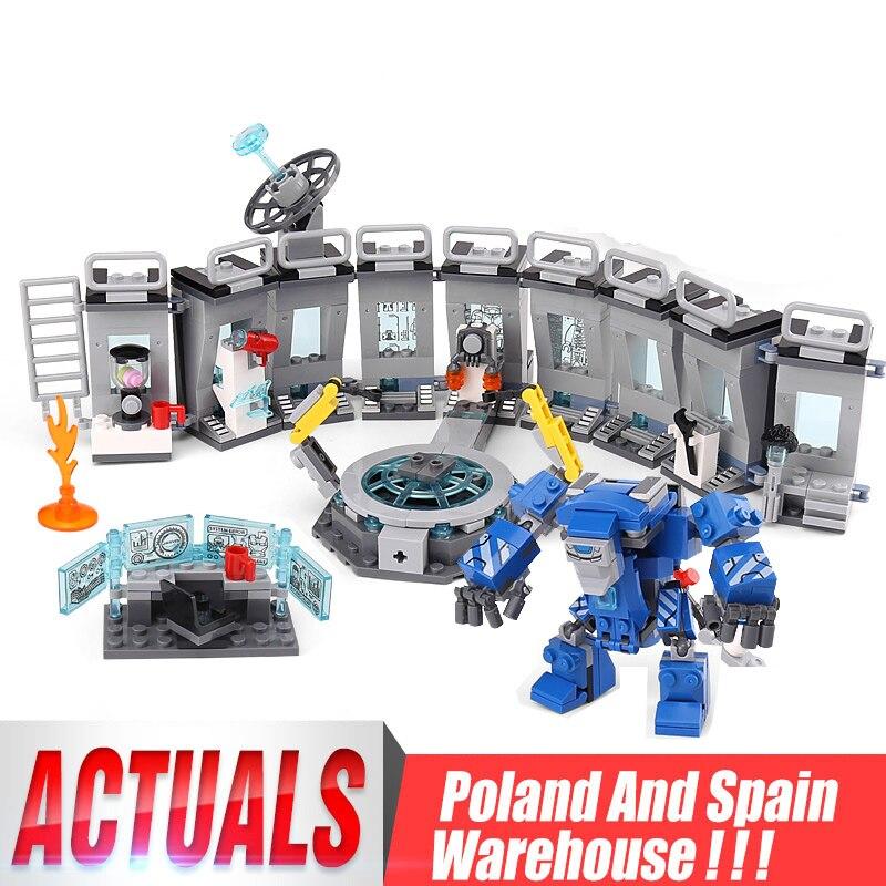 Juego de superhéroes de 07121, salón de armadura de Iron Man, Compatible con 76125, bloques de construcción, chico educativo, juguete para regalo de Navidad