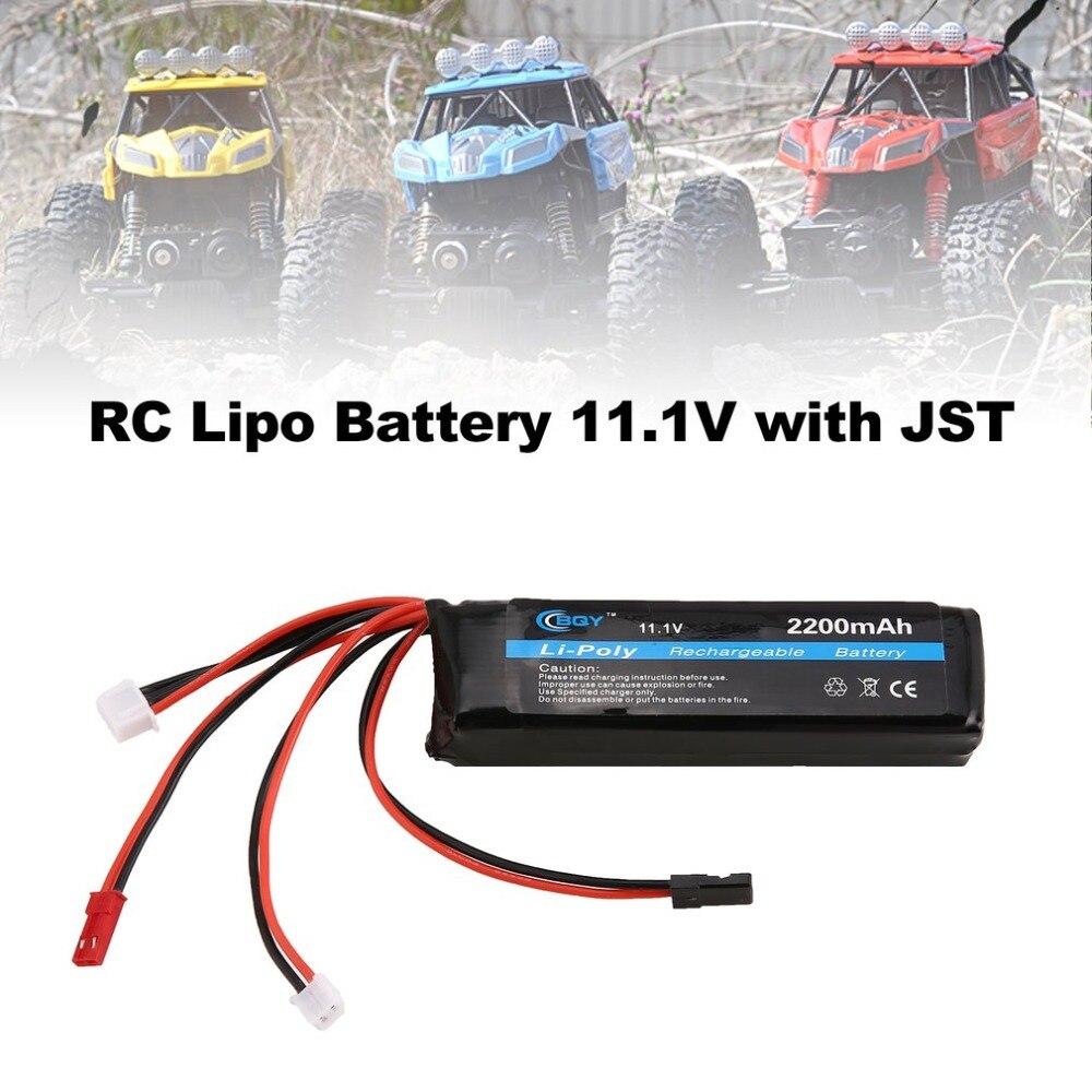 BQY 11,1 V 2200mAh 8C 3S 1P batería Lipo JST JR Muti conector recargable para Dron de carreras de control remoto Quadcopter, helicóptero, coche, barco
