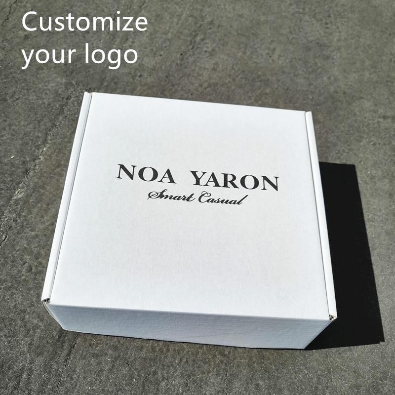 100/lote personalizado cartón corrugado cuadrado blanco impreso entrega de la marca comercial buzón embalaje Polo camiseta ropa interior embalaje