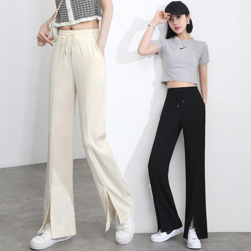 streetwear summer 2021 high waist white black Women's Capris pants for women trousers wide leg strai