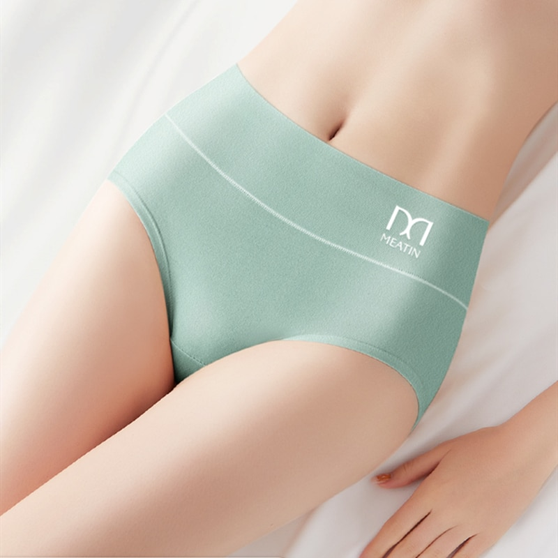 Women Cotton Panties Sexy Underwear Underpants Female Solid Soft Mid Waist Cotton Brief Lingerie Gir