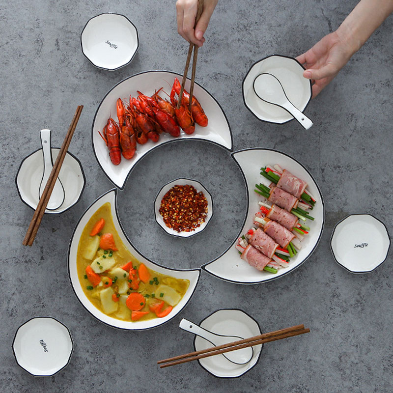 Ceramic Cutlery Dinner Moon Plate Set Creative Tableware Food And Fruit Sara Dishes Kitchen Accessories Porcelain Tray