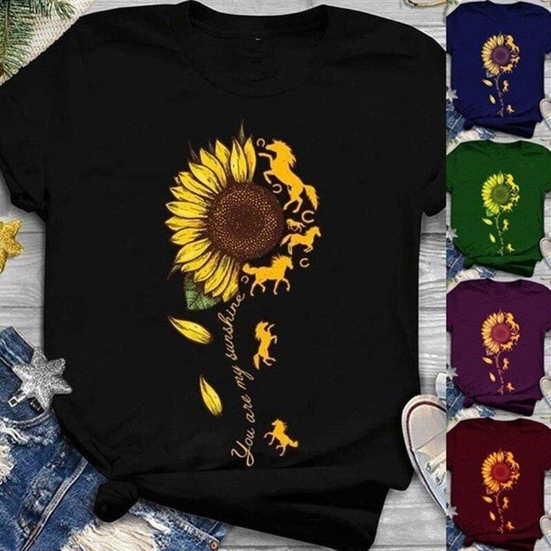 Sunflower Horse Print T Shirt Women Short Sleeve O Neck Loose Tshirt Summer Women Tee Shirt Tops Camisetas Mujer hen chicken print t shirt women short sleeve o neck loose tshirt summer women tee shirt tops camisetas mujer