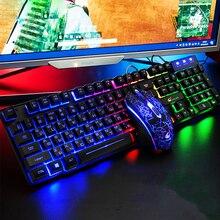 Водонепроницаемая русская + английская клавиатура, Проводная игровая мышь и клавиатура, набор с радужной подсветкой, компьютерная клавиатура, RU + EN клавиатуры