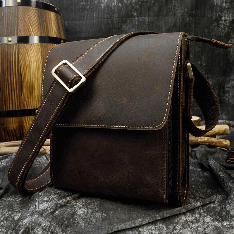 Men's vintage crazy horse leather bag iPad Cow leather shoulder bag Zip around casual crossbody bag Cowhide briefcase Purse