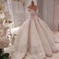mariage gorgeous lace 3d flower wedding dresses 2021 with long train sparkle beaded puffy bridal gowns custom made