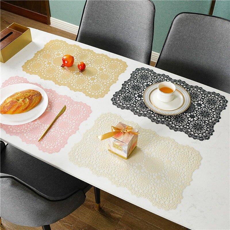 V doble capa de aislamiento térmico occidental mantel impermeable a prueba de aceite japonés Ins estera de mesa de PVC