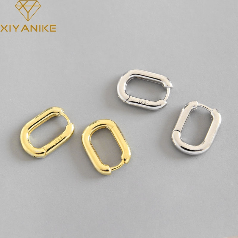 XIYANIKE Minimalist 925 Sterling Silver Stud Earrings Vintage Geometric Ellipse Handmade Earrings Pa