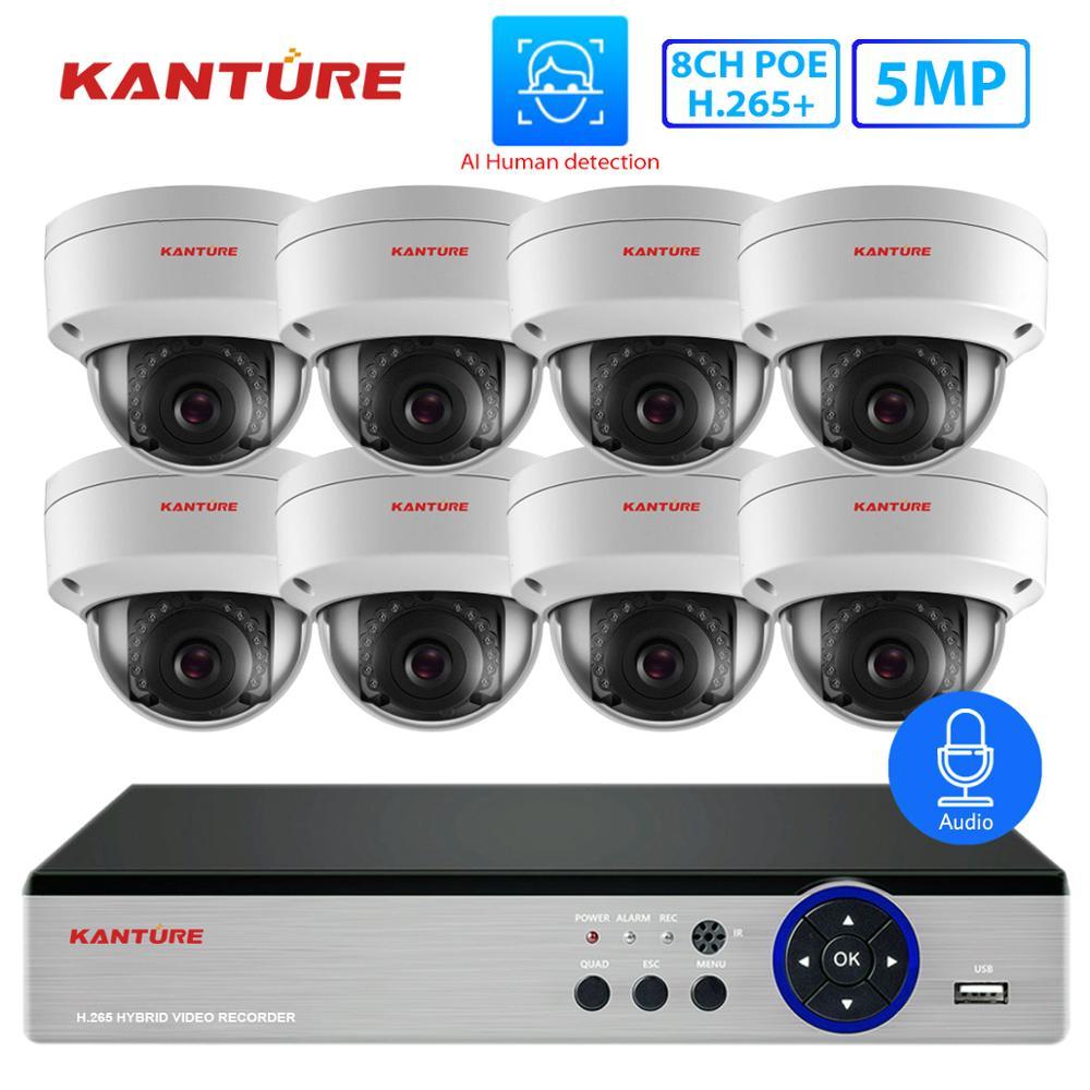 KANTURE H.265 + CCTV 8CH 5MP NVR POE CCTV, sistema de seguridad con Audio, 5MP cara registro de corte IR Vandalproof cámara de videovigilancia Kit