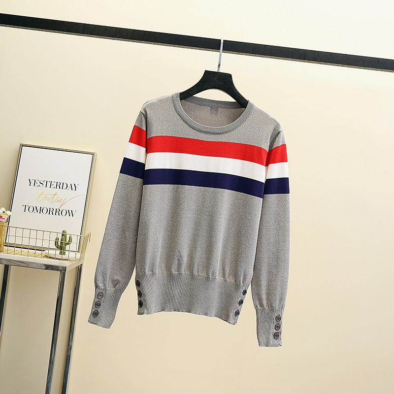 2021 Autumn Winter Casual New slim Knit Sweater Solid Korean Style Pullover Round Neck Clash Jacquard Casual Jumper top Clothes enlarge