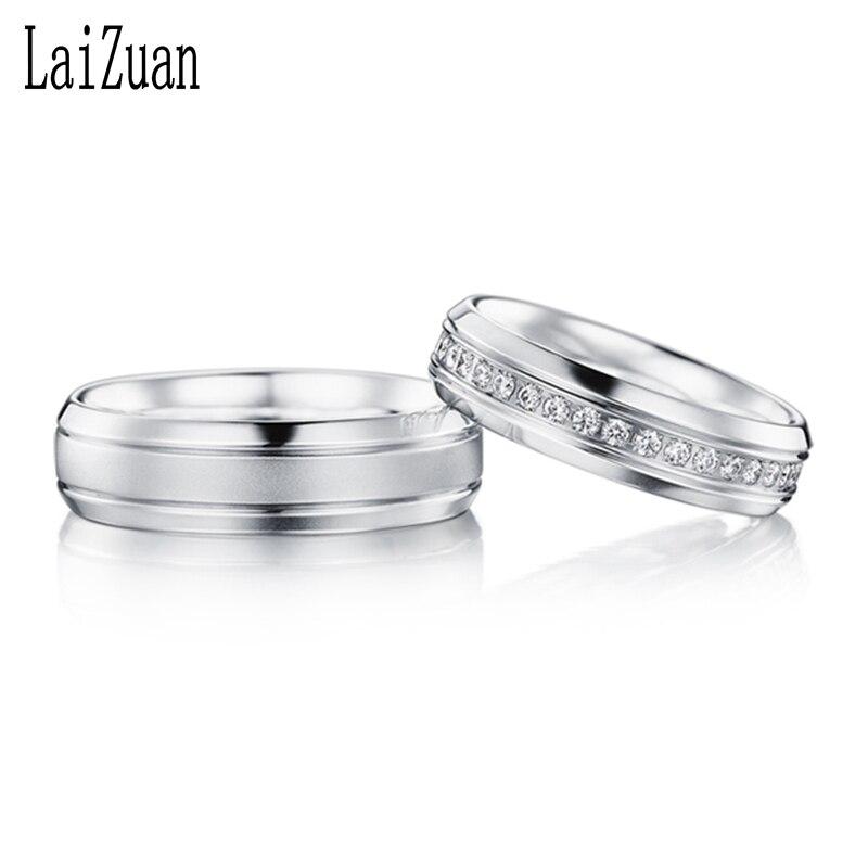 لايزوان الصلبة 18K الذهب الأبيض 0.24ct شهادة H/SI جولة قطع الماس الطبيعي مجوهرات رومانسية زوجين خاتم لعشاق اقتراح