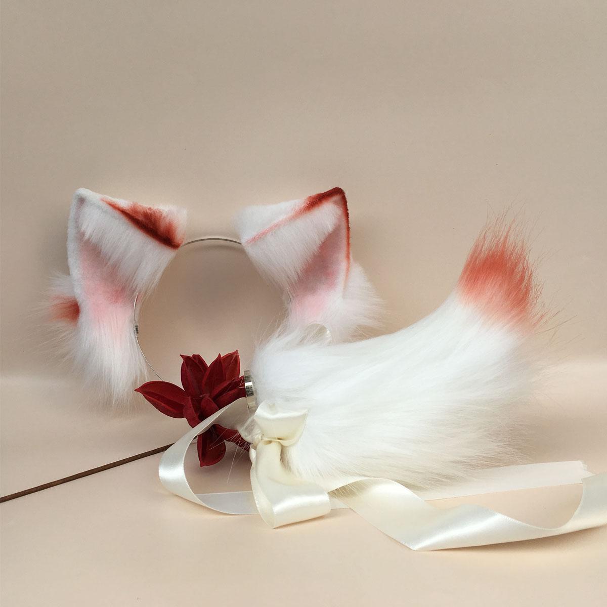 عصابة رأس للقطط ذات لونين ، إكسسوارات شعر حيوانات ، محاكاة آذان القطط المصنوعة يدويًا