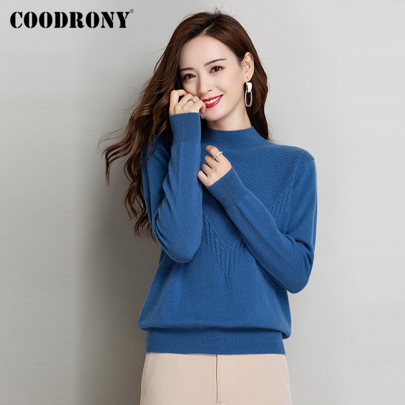 COODRONY Brand New Autumn Winter High Quality Merino Cashmere Women Jumpers Elegant Knitting Slim Pullover Female Sweaters W1182 enlarge