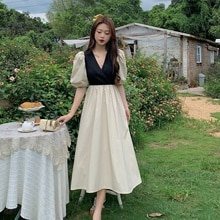 Price ~ New Korean Style Sense of Design Color Contrast Patchwork Fake Two-Piece Lace-up Waist Mid-L