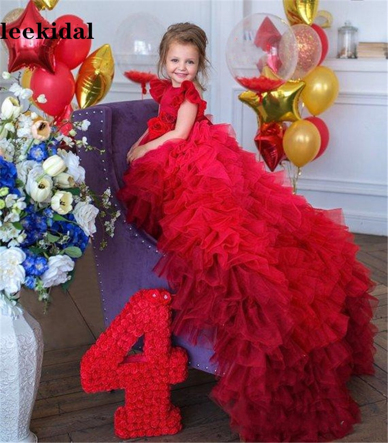 Red Cute Flower Girl Dresses Little Girls Infant Baby Birthday Party Gowns with Long Train Pageant Dress 2-16Year enlarge