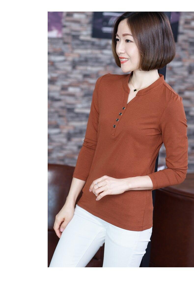 The new autumn outfit 2019 spring render ms long-sleeved v-neck shirt T-shirt unlined upper garment dress collar shirt