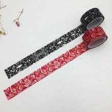 Güzel yüksek kaliteli washi kağıt bant/20mm * 5m Kırmızı dantel ve Siyah dantel tasarım maskeleme japonya washi bant