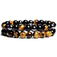 2 pièces hommes Bracelets perles pierre naturelle Onyx noir & oeil de tigre & hématite pierre Bracelets pour femme hommes sans Bracelet magnétique
