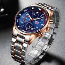 NIBOSI Top Brand Watches Men Stainless Steel Waterproof Luminous Male Wristwatch Chronograph Luxury