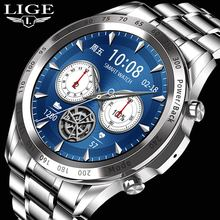LIGE 2021 Men Smart Watch TWS Heart Rate Blood Pressure Sports Fitness Luxury Watch Music Playback D