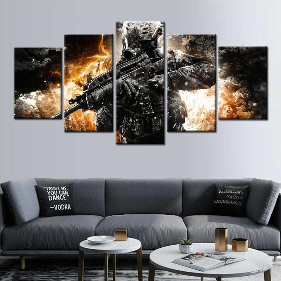 Llamada de servicio negro ops 2 de la lona arte de la pared 5 póster de panel y impresiones pared arte decoración de habitación de los niños Modular pintura