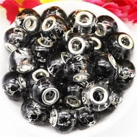 20 pcs black color glass beads large hole murano charms fit pandora bracelet bangle snake chain diy pendant bead charm jewelry