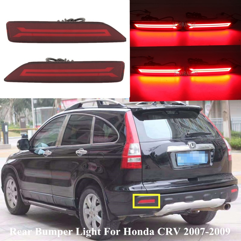 1 Pair Led Rear Bumper Light For Honda CRV CR-V 2007-2009 Reflector Lamp Red 2 Fuction Car Fog