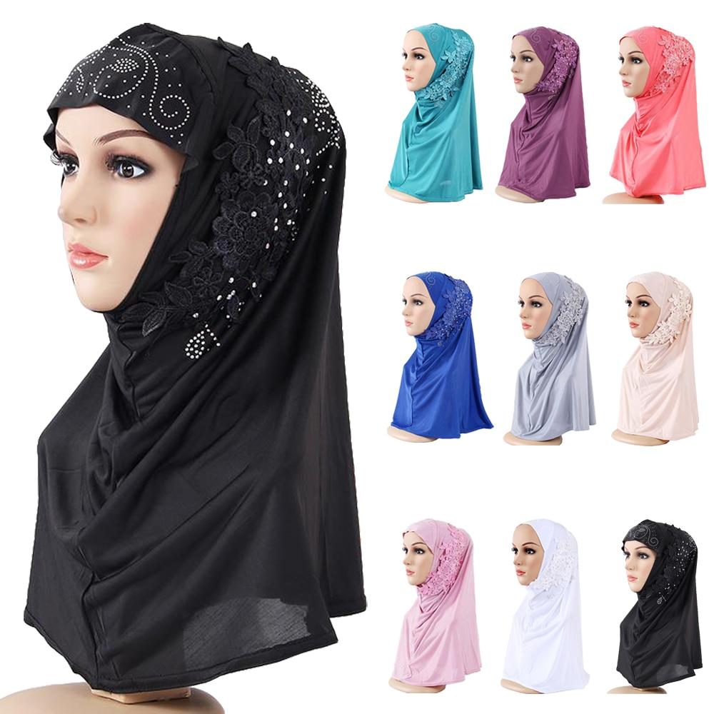 One Piece Amira Hijab Muslim Women Lace Headscarf Rhinestone Shawl Wrap Arab Islamic Prayer Hijabs Full Cover Scarf Ramadan Caps