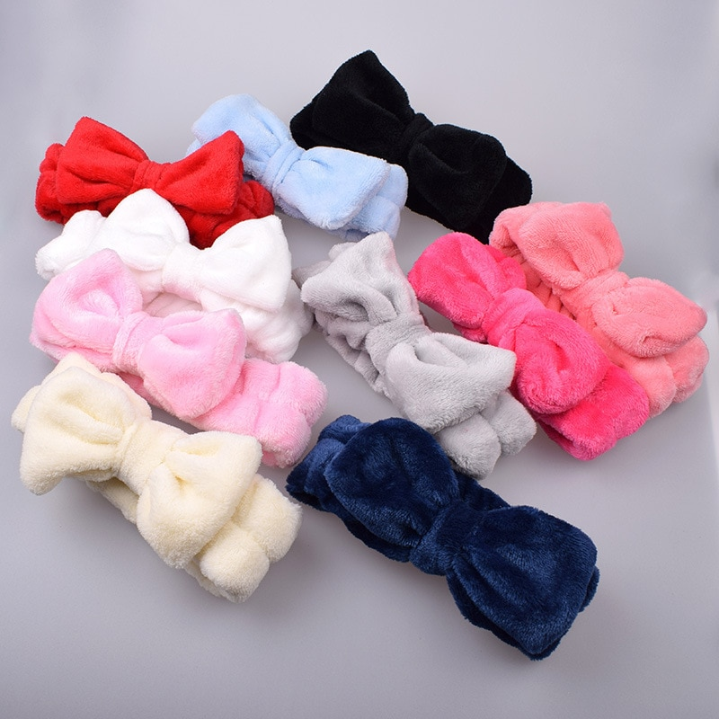 Coral Fleece Wash Face Bow Hairbands For Women Elastic Soft Turban Hair Accessories Girls Bathing Ma