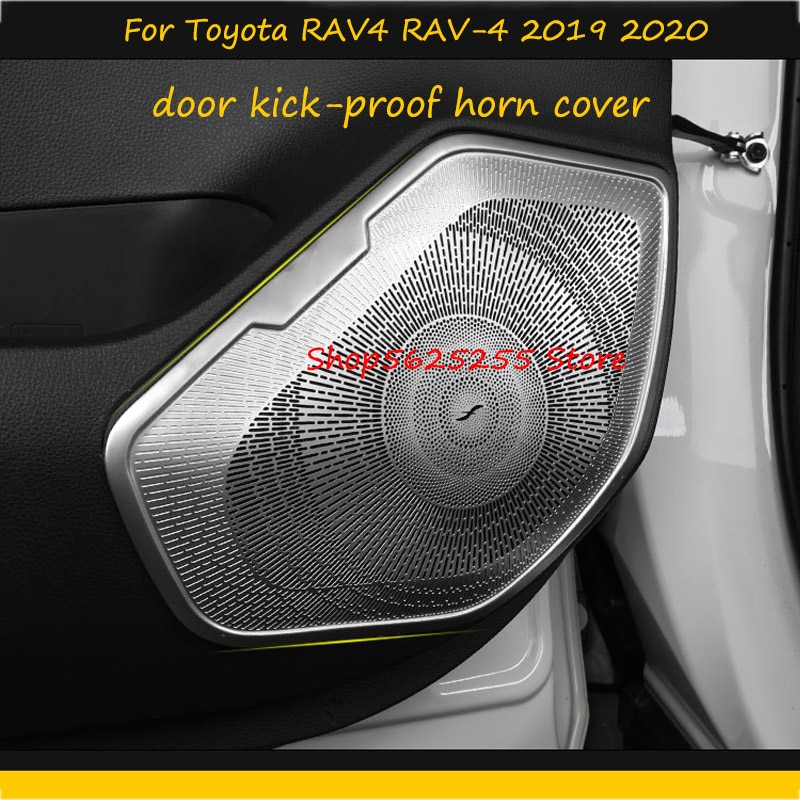 Car Door Sound Horn Cover For Toyota RAV4 RAV-4 2019 2020 2021 Anti-kick Interior modification Acoustics Decoration Accessories