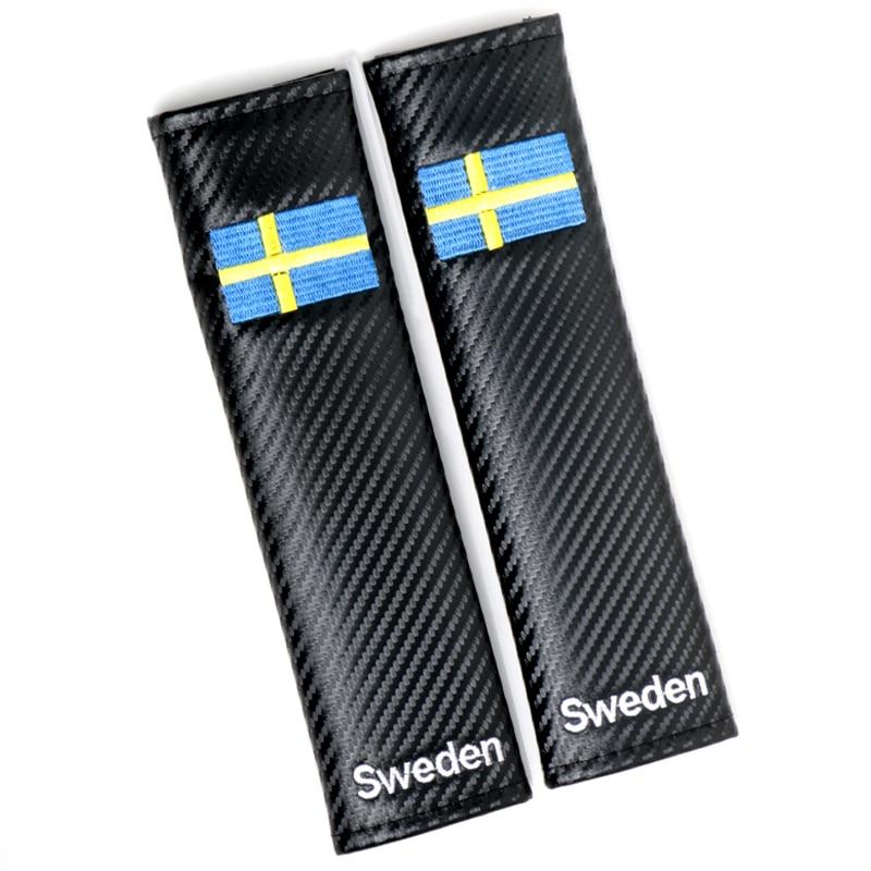 4 pieces Auto Car Styling shoulder protector cover case for renault carbon fiber Sweden national flag