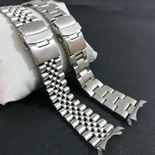 20 สายนาฬิกาสแตนเลส 22 มม.ปลายสายพับClaspสายรัดข้อมือสร้อยข้อมือเงินสำหรับนาฬิกาSeikoอุปกรณ์เสริม