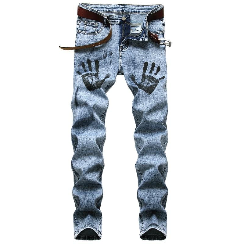 джинсы штаны мужские брюки мужские джинсы для мужчин Мужские джинсы стрейч с пальмовым принтом, светло-голубые брюки, мужские Модные индиви...