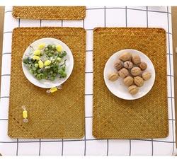 Tecido de palha placemats esteiras de mesa para mesa de jantar isolamento térmico suporte pote retangular coaster copos de chá bebida de café coaster