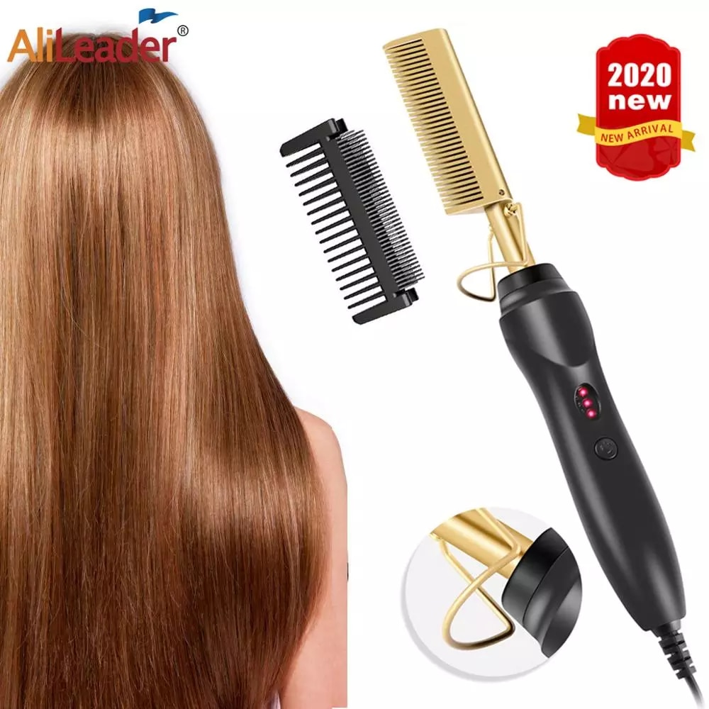 Leeons Hot Comb Electric Hot Comb Wet And Dry Hair Curler Comb Hot Straightening Heating Comb Iron E