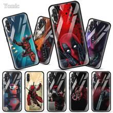 Marvel SuperHero Deadpool Tempered Glass Case for Xiaomi Mi A3 CC9 CC9E Redmi A8 K20 Note 6 7 8 Pro Black Soft Edge Phone Cover