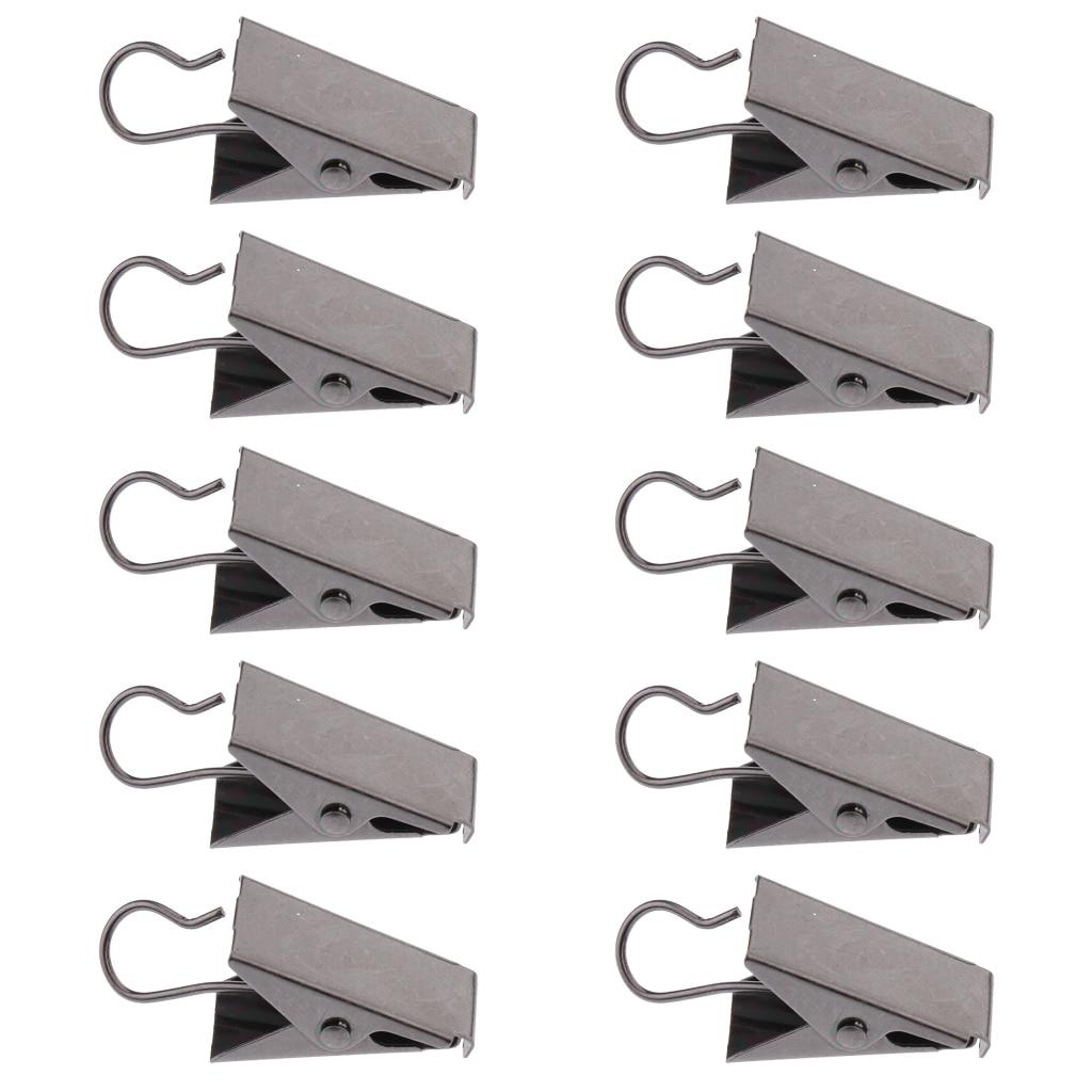 10Pcs pesado Clips de cortina con gancho Panel de puerta Pinzas de resorte de fuerte Catcher gancho Clips