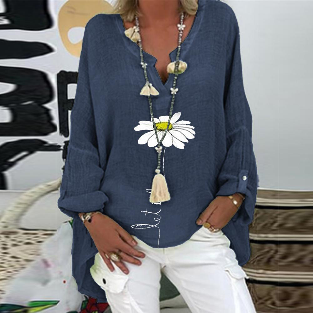 Nueva túnica Casual de manga larga con cuello en V oscuro estilo de impresión Floral botón blusa suelta camisa Top