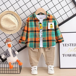 Children's Spring Clothes Western Style Children's Plaid Shirt Sweater 3-pieces Sets Children's Clothes Baby Casual Suit