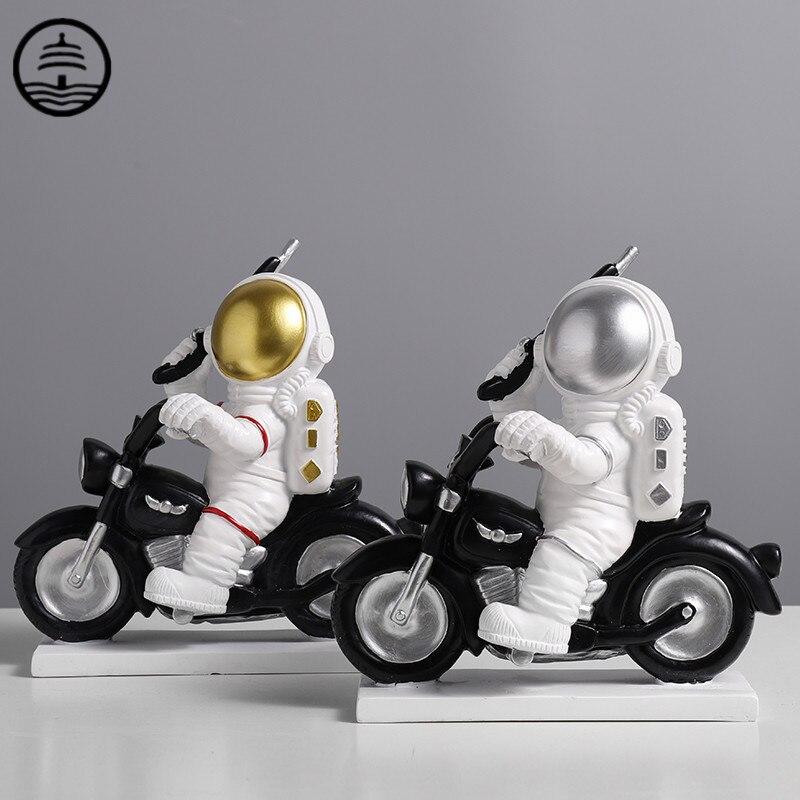 Decoração para Casa Guang Nordic Bonito Astronauta Arte Escultura Decoração Estatuetas Spaceman Estátua Resina Artesanato Escritório R5655 Bao ta