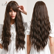 EASIHAIR Long Dark Brown Deep Wave Synthetic Wigs with Bangs Middle Part Heat Resistant Curly Hair Wigs for Black Women Party