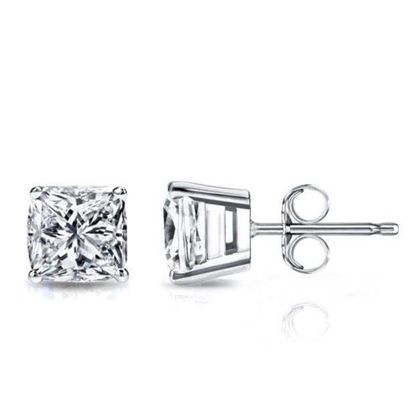 OEVAS Real 1 Carat Moissanite Stud Earrings For Women 100% 925 Sterling Silver 18K Gold Plated Sparkling Wedding Fine Jewelry