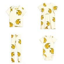Pre-venta Ins MR chico traje de bebé de algodón mono de verano de manga corta Goldfish estampada por completo traje de escalada traje de algodón