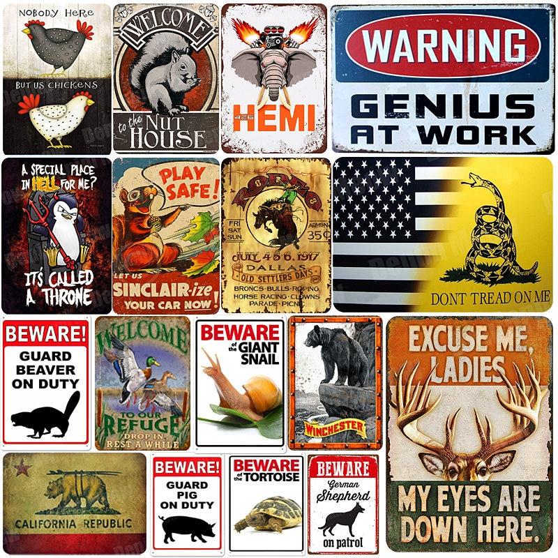 Предупреждающий гений на работе, металлический оловянный знак, винтажный Настенный декор в виде животных, налет, картина в виде белки, бобра, художественное ремесло, Декор для дома, A195